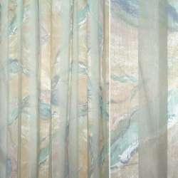Органза деворе персиковая с сине-зелеными разводами