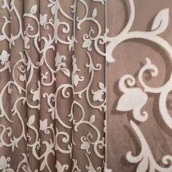 Органза деворе коричневая с рисунком испанский дворик