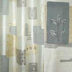 Органза деворе молочная с серо-песочными прямоугольниками и цветами