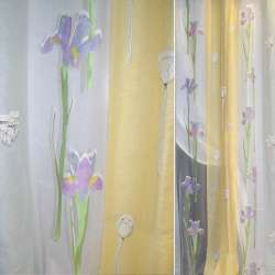 Органза деворе желто-сиреневая с широкими полосами и фиолетовыми ирисами