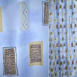 Гардинная органза голубая Деваре коричневая