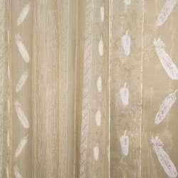 Органза деворе пісочна в білий малюнок