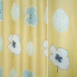 Органза деворе жовта з синіми квітами