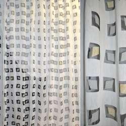 Полуорганза деворе белая с темно-серыми квадратами