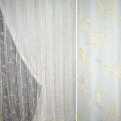 Полуорганза деворе молочная с желто-серыми цветами