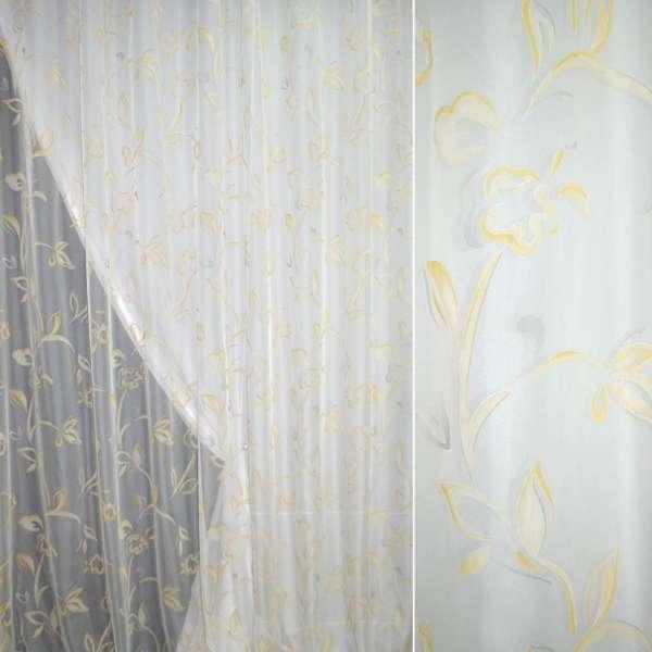 ткань гардиная деворе молоч.с желто-сер. цвет.