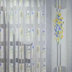 """Полуорганза  """"Деваре""""  белая  с  желто-голуб. ш.280"""