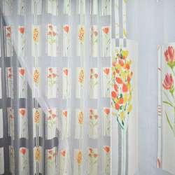 Напіворганза деворе біла з жовто-червоними квітами