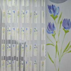 Напіворганза деворе біла з жовто-блакитними польовими квітами ш.290