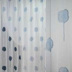 """Полуорганза  """"Деваре""""  белая  с  голуб.  цвет.ш.280"""