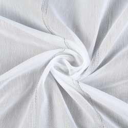 Лен гардинный белый светло-серые ниточные полоски с утяжелителем, ш.280