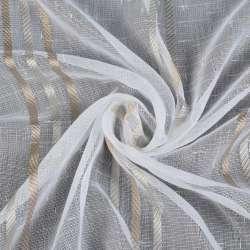Лен гардинный белый золотые полоски, белые штрихи без утяжелителя, ш.300