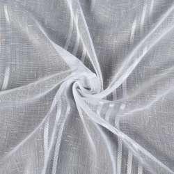 Лен гардинный белый тройные белые полоски, белые штрихи без утяжелителя Герм