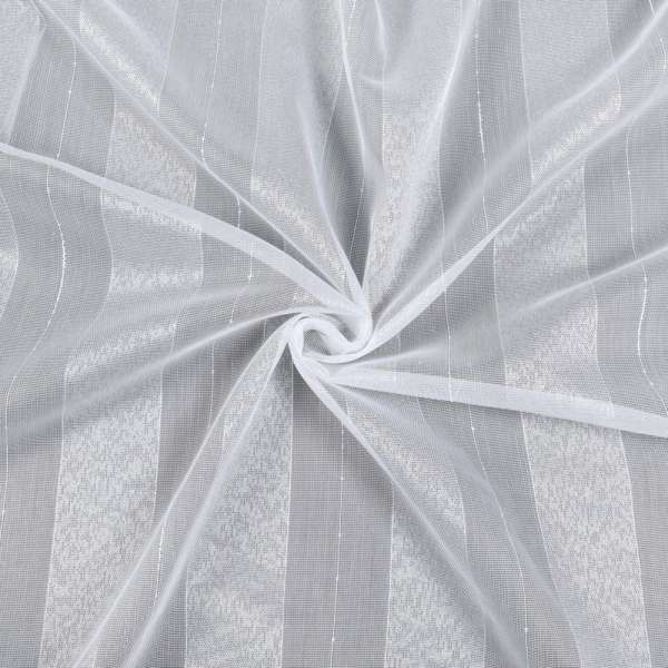 Лен гардинный белый в широкие блестящие полосы, с утяжелителем, ш.180