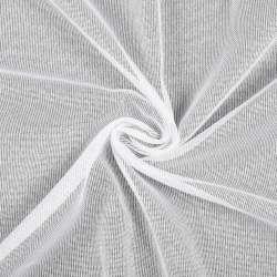 Лен гардинный белый в блестящие ниточные полосы, с утяжелителем, ш.180