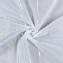 Лен гардинный белый в ниточные полосы, с утяжелителем, ш.180