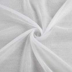 Льон гардинний смужки ниткові блискучі, білий з обважнювачем, ш.250