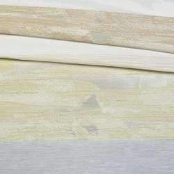 Лен молочный в бежевые, салатовые жаккардовые полоски, ш.140