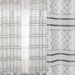Лен жаккардовый серый светлый в темно-серые полоски, ш.150