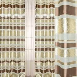 Лен молочный в коричневые, бежевые жаккардовые полоски, ш.140