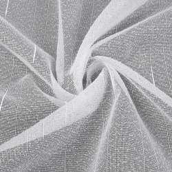 Лен гардинный белый в точку и ниточные полосы с уплотнениями с утяжелителем, ш.260