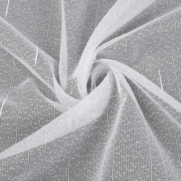 Лен гардинный белый в точку и ниточные полосы с уплотнениями с утяж, ш.260