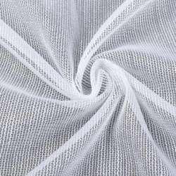 Лен гардинный белый в блестящие плотные ниточные полосы с утяжелителем, ш.300
