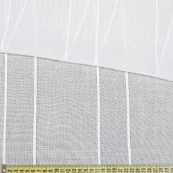Лен гардинный белый в витые жаккардовые полосы, с утяжелителем, ш.300