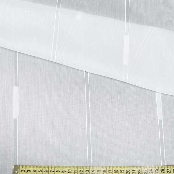 Лен гардинный молочный в двойные полосы и белые штрихи, с утяжелителем, ш.300