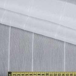 Льон гардини білий з щільними нитковим смугами, з обважнювачів, ш.300