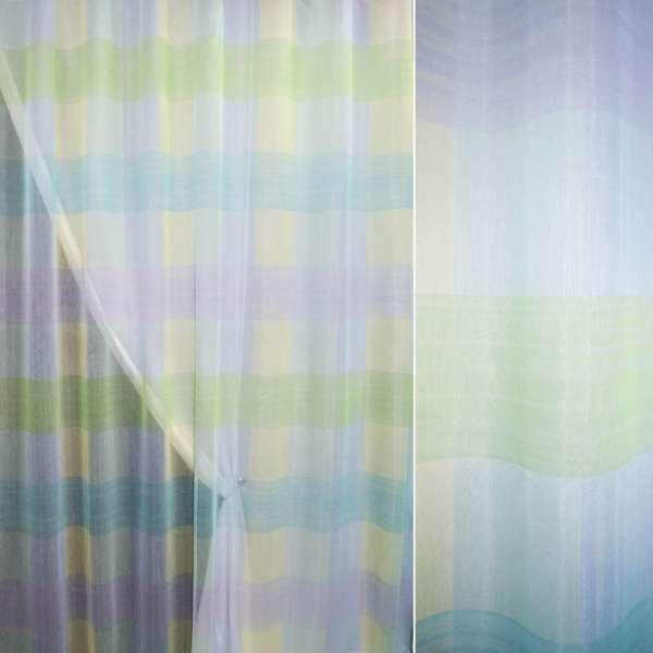 Полуорганза в салатово-голубые крупные квадраты ш.280