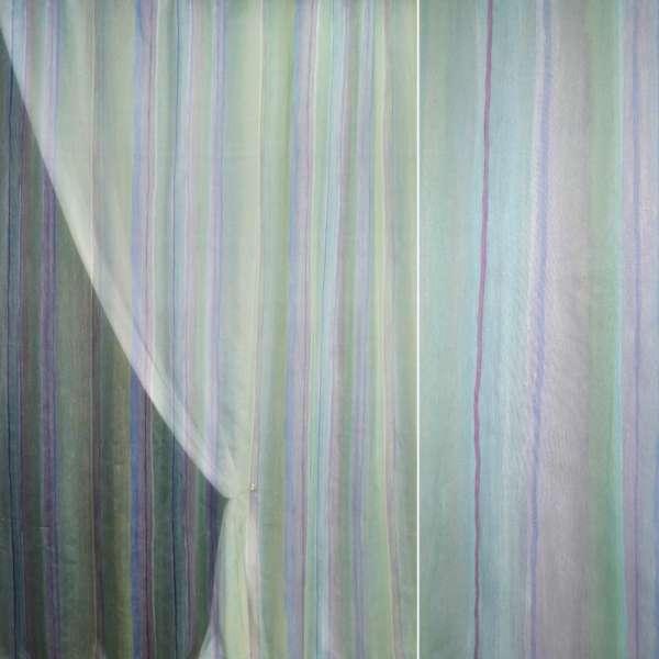 Полуорганза  зеленая в сирен-фиолет. полоски