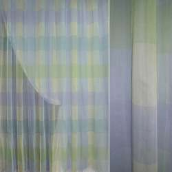 Полуорганза жатая зеленая с голубыми квадратами ш.290
