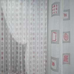 Полуорганза белая с серыми полосками и квадратами ш.280
