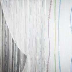 Полуорганза белая с разноцветными тонкими полосками ш.280