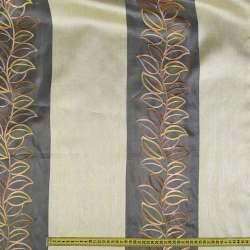 органза белая с вышит. листьями и крем. шир.пол. ш.275