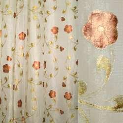 органза бежево-золотистая с корич. цветами ш.135