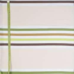 Лен органза в молочные, зеленые, коричневые полоски, ш.150
