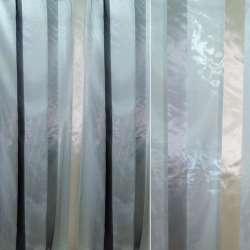 Органза сіра в чорно-сріблясту смужку ш.320
