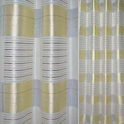 органза белая с желт. квадр.и сереб.-корич. полосками