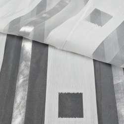 Органза біла в широкі сріблясті смужки, з обважнювачем,