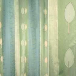 Органза-фукра зелено-сині смужки з бежево-оливковими листям орарі ш.330