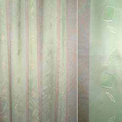 Органза-фукра зелена з бежевими і зеленими ромбами орарі ш.320