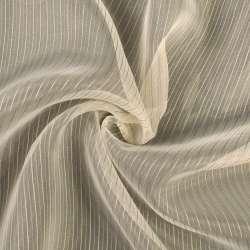 Органза молочная в тонкую бежевую, коричневую полоску, ш.300