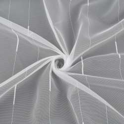Сітка тюль смужки ниткові з віями, біла з обважнювачем, ш.150