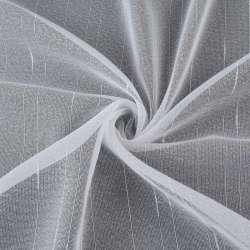 Мікросітка тюль смужки ниткові з ущільненнями, біла з обважнювачем, ш.260