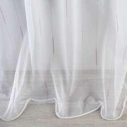 Сітка тюль смужки ниткові з віями бузкові, біла з обважнювачем, ш.300