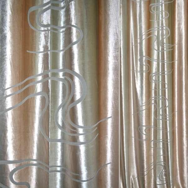 Велюр деворе персиково-бежевые полосы
