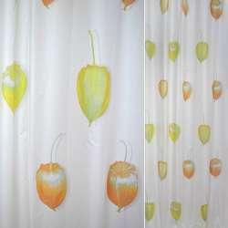 ткань порт.белая с желтыми и оранж. крур.бутон. ш.150