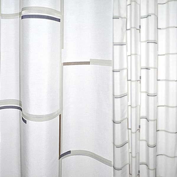 Деворе портьєрне біле з синьо-коричневими смужками по краях квадратів ш.140